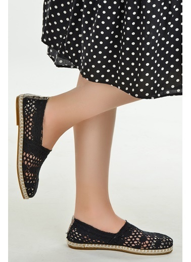 Ayakland Ayakland 1000 Günlük Bayan Örgü Desenli Babet Ayakkabı Siyah